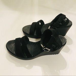 Crocs Black Strap Wedges